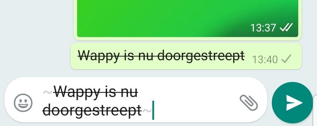 WhatsApp Business Automatisch Bericht Doorgestreept