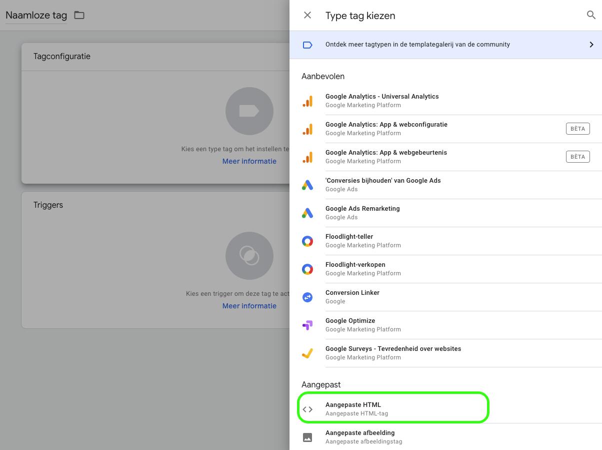 Whatsapp widget google tag manager tag configureren